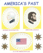 3 images on aida ovals - George Washington, Abraham Lincoln, 13 star American flag by Susan Saltzgiver Designs.