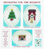 3 images on aida ovals - a decorated Christmas tree, a window with holly and a wreath, a fireplace with stockings hung in a row all embellished with glass treasures by Susan Saltzgiver Designs.