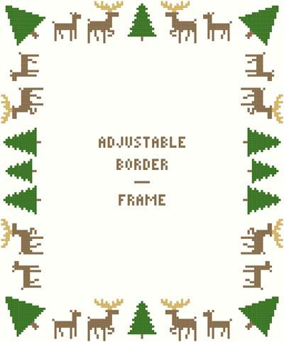 Deer/Evergreen Borders/Frame-Adjustable by Susan Saltzgiver Designs