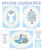 3 images on aida ovals - Jesus rising into Heaven, Jesus in prayer, and part of Lord's prayer by Susan Saltzgiver Designs.