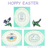 3 images on aida ovals - bunny face on egg, basket of colored eggs, and bunny on egg  by Susan Saltzgiver Designs.