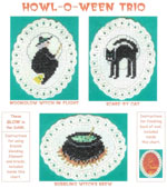 3 images on aida ovals - a witch flying on her broom, a black cat, and a bubbling caulbron on sticks and fire by Susan Saltzgiver Designs.