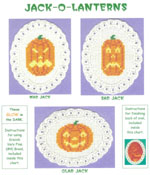 3 images on aida ovals - jack-o-lanterns with mad, sad, and glad expressions by Susan Saltzgiver Designs.