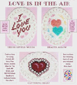 3 images on aida ovals - I Love You, joined hearts using glow in the dark floss, and lace edged heart  by Susan Saltzgiver Designs.
