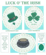 3 images on aida ovals - leprechaun's hat, a shamrock, and a pot of gold with the nuggets formed by gold beads  by Susan Saltzgiver Designs.