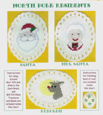 3 images on aida ovals - Santa, Mrs. Santa, Rudolph with his nose shining by Susan Saltzgiver Designs.