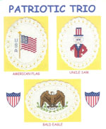 3 images on aida ovals - American flag, Uncle Sam, and Bald Eagle with wings 'up' by Susan Saltzgiver Designs.