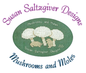 Logo - Susan Saltzgiver Designs, Mushrooms and Moles